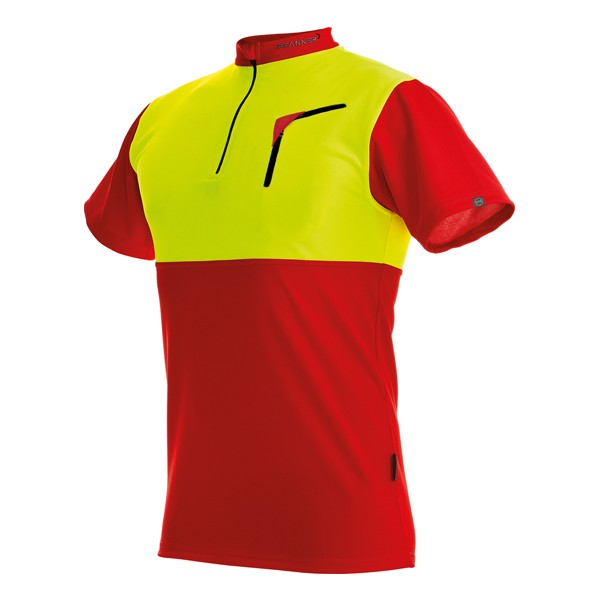 Pfanner Zipp-Neck Shirt kurzarm rot-neongelb