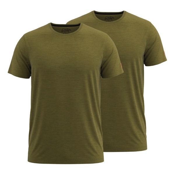 FORSBERG T-Shirt 2er-Set - Oliv-Melange